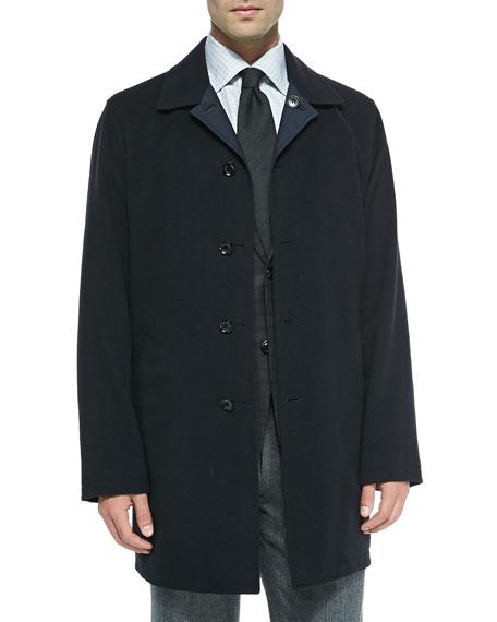 Ermenegildo Zegna Reversible Singled-Breasted Overcoat, Navy