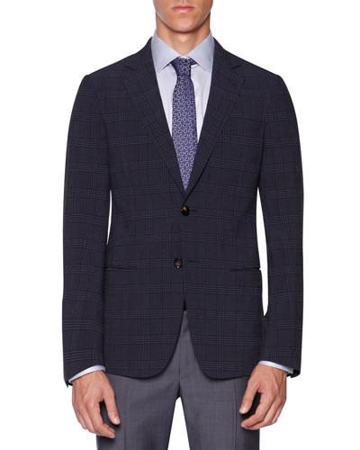 Plaid Seersucker Jacket, Blue