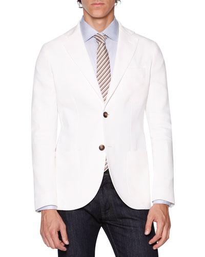Solid Fine Twill Jacket, White