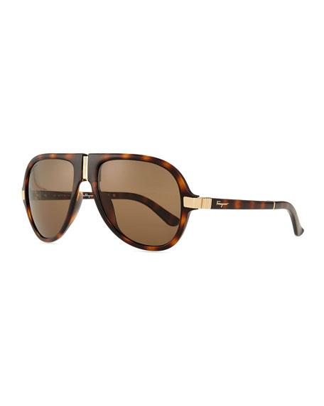 gladiator sunglasses  Salvatore Ferragamo Foldable Gladiator Sunglasses, Black
