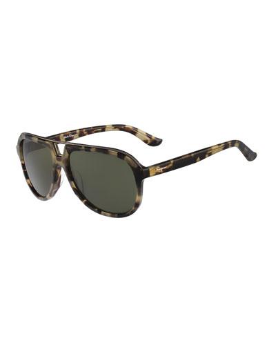 Navigator Plastic Sunglasses, Antique Tortoise