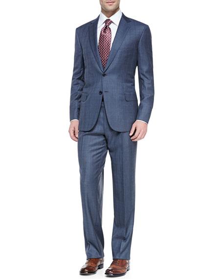 Plaid Two-Piece Suit, Blue/Gray
