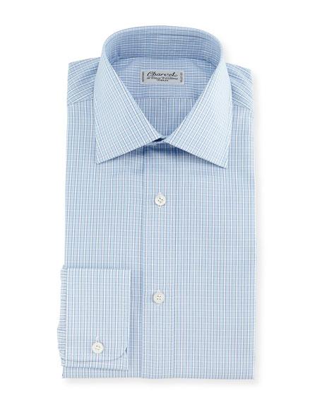 Charvet Plaid Dress Shirt, Blue