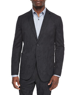 Tobias Camo-Print Jacquard Sport Coat, Black