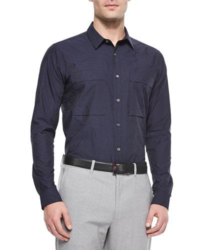 Spencer Bidasar Camo-Print Jacquard Shirt, Navy