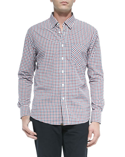 Check Button-Down Shirt, Navy/Red/White