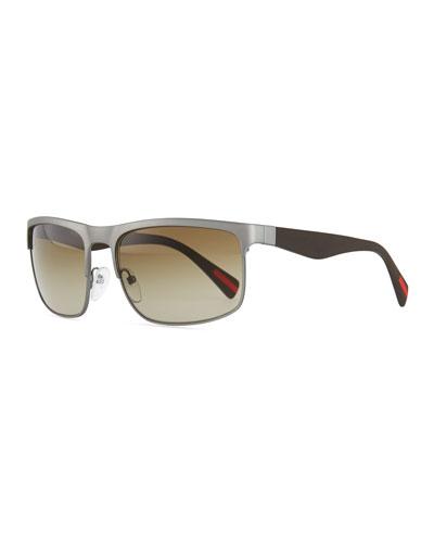 Rectangular Metal Sunglasses, Gunmetal