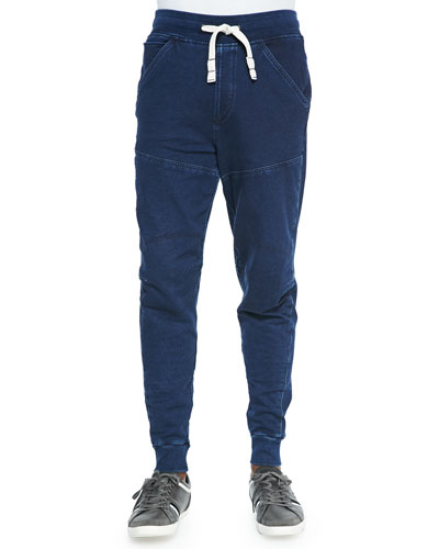 5620 Stretch-Cotton 3D Jogging Pants, Blue