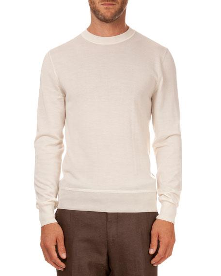 Berluti Cashmere/Silk Lightweight Sweater, Ivory