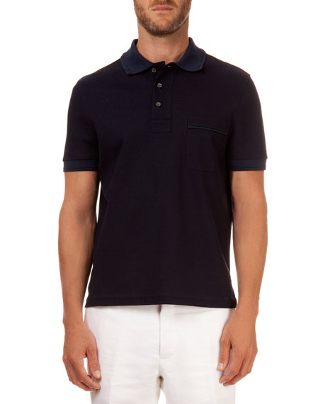 Polo with Leather Detail, Navy