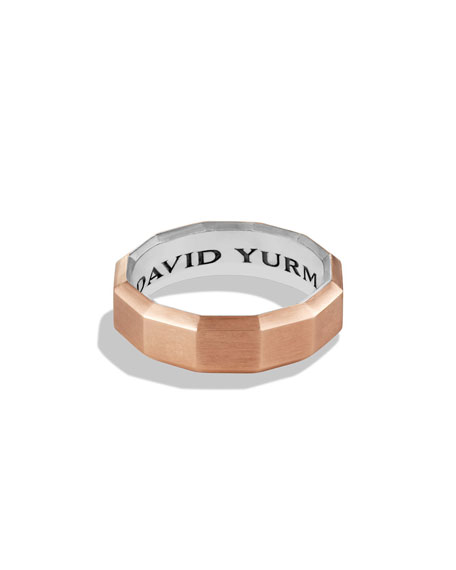 Faceted Metal Band Ring with Rose Gold