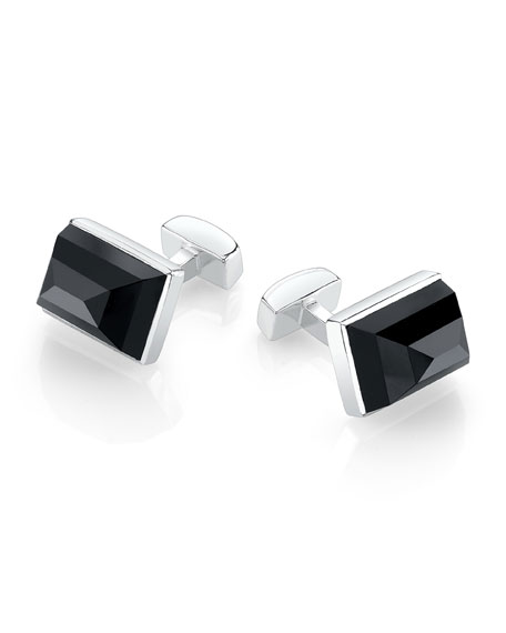 Sterling Silver Large Emerald-Shaped Cuff Links, Onyx
