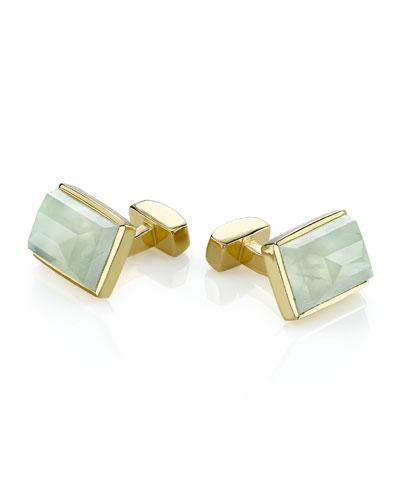 Vermeil Large Emerald-Shaped Cuff Links, Prehnite