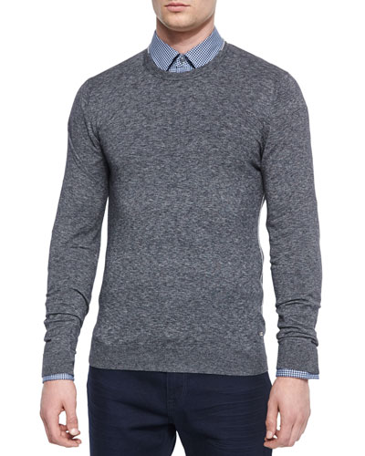 Heathered Crewneck Sweater, Black
