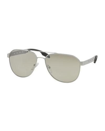 Perforated Aviator Sunglasses, Silver