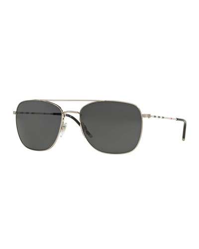Check-Temple Aviator Sunglasses, Silver
