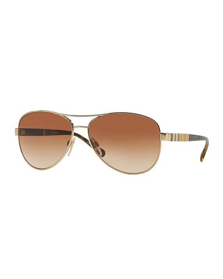 Burberry Check-Temple Aviator Sunglasses, Matte Golden