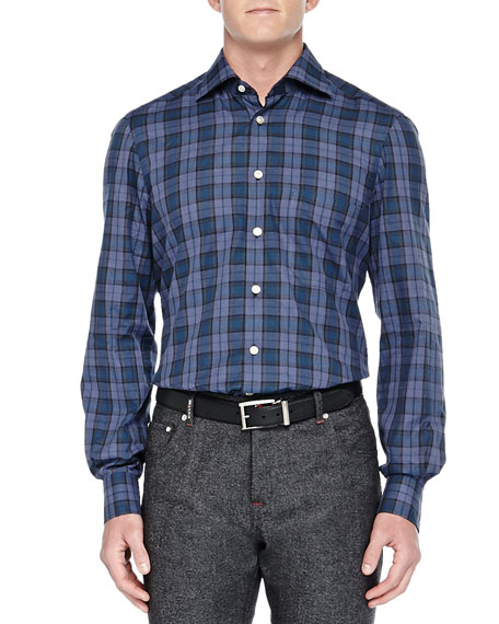 Kiton Plaid Ultrafine-Woven Shirt, Blue/Green