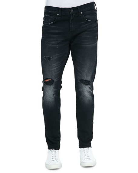 7 For All Mankind Paxtyn Destroyed Denim Jeans, Black