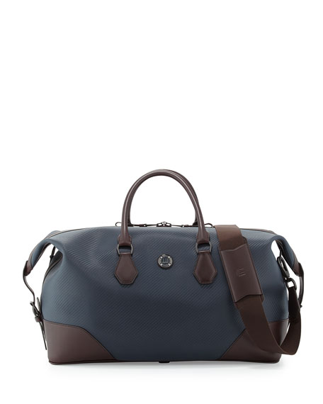 dunhill Chassis Leather Holdall Duffel Bag, Navy