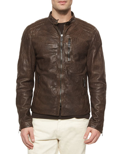 Washed Leather Moto Jacket, Brown