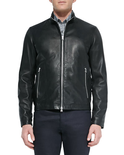 Men's Morvek Zip-Front Leather Jacket