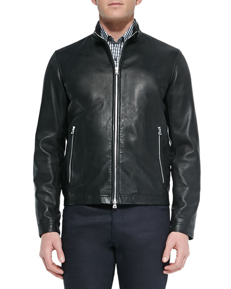 Theory Basic Leather Jacket, Check Long-Sleeve Sport Shirt