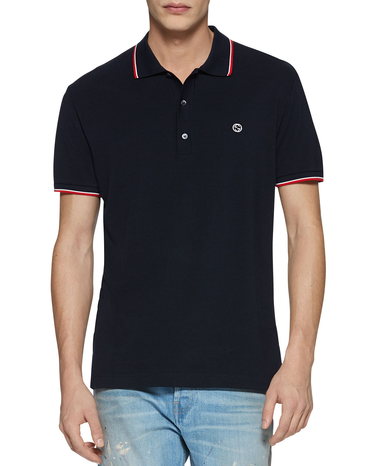 33b2da8a575e Gucci Cotton Piquet Polo Shirt with Web Detail
