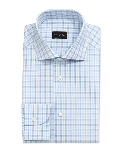 Box Plaid Dress Shirt, Blue on White