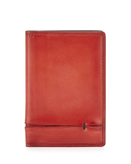 Bi-Fold Leather Card Case, Red