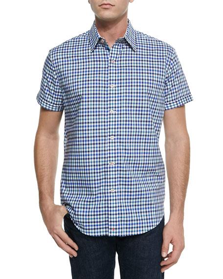 Robert Graham Bogota Check Short-Sleeve Shirt, Navy