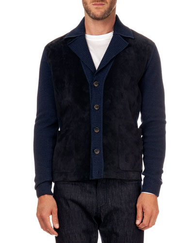 Perforated Suede & Knit Cardigan, Navy