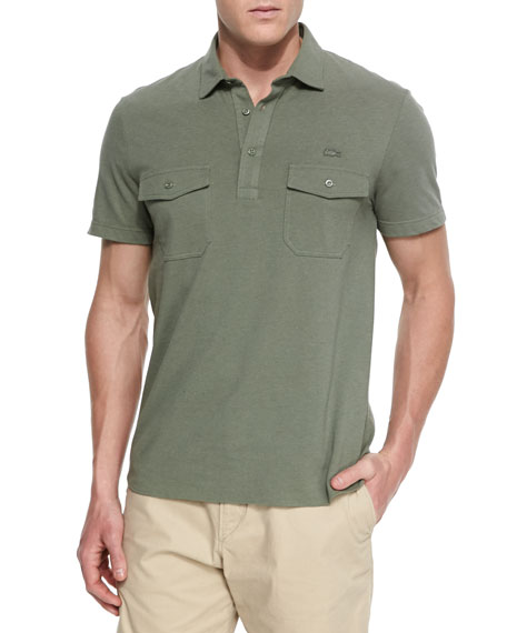 Lacoste double pocket polo shirt green for Polo t shirts with pocket online