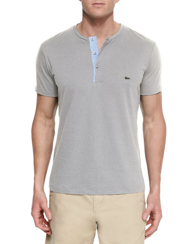 Woven Baseball-Collar Henley Shirt, Gray