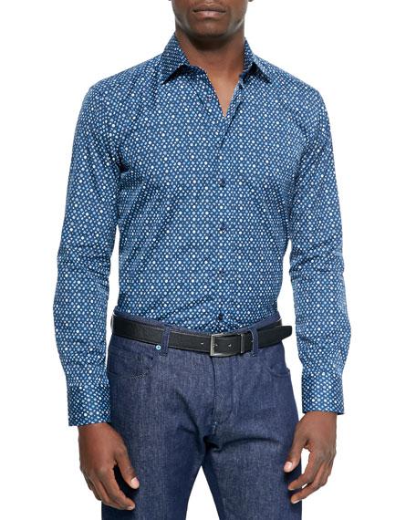 Etro Small Paisley and Diamond Print Sport Shirt,