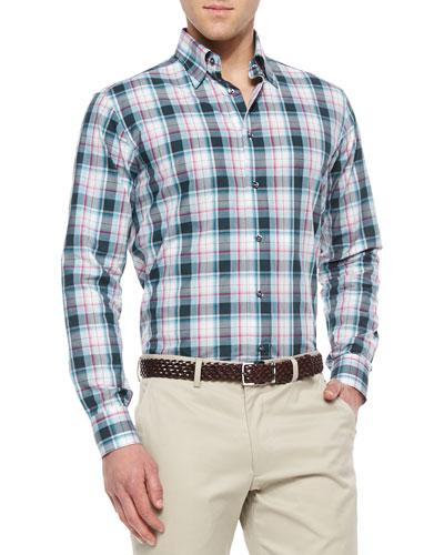 Multi-Plaid Woven Sport Shirt, Green/Gray/Pink