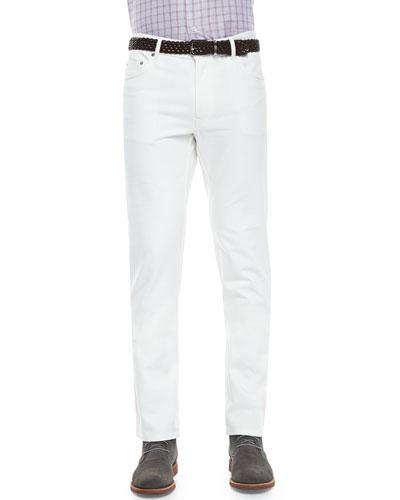 Poplin Five-Pocket Stretch Pants, White