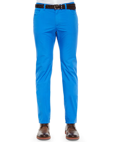Five-Pocket Poplin Stretch Trousers, Light Blue