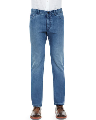 Five-Pocket Twill Denim Jeans, Blue