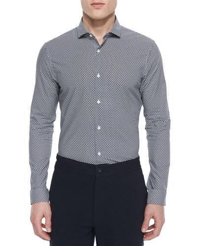 Mervin Dot Slim-Fit Shirt, Navy