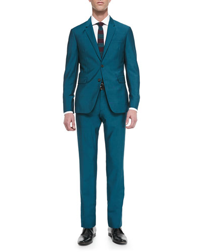 Wool/Mohair Two-Piece Suit, Teal
