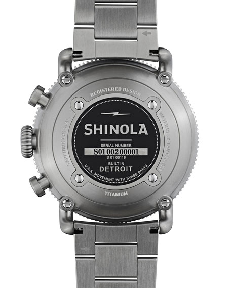 Image 4 of 6: Shinola Men's 48mm Limited Edition Black Blizzard Watch