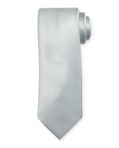 Brioni Solid Silk Satin Tie, Silver