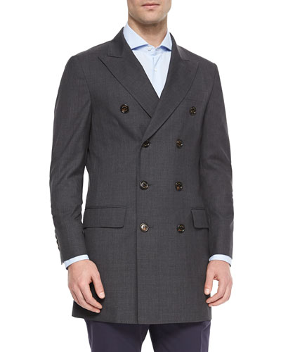 Wool Double-Breasted Overcoat, Charcoal