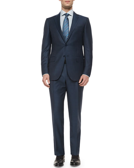 34ae9253 Trofeo Wool Striped Suit Steel Blue