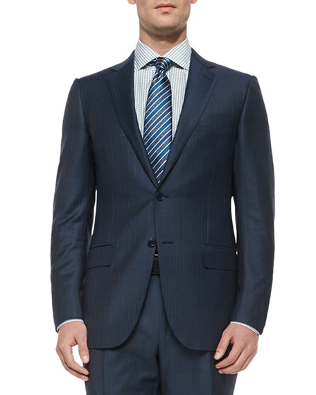 Ermenegildo Zegna Trofeo Wool Striped Suit, Steel Blue