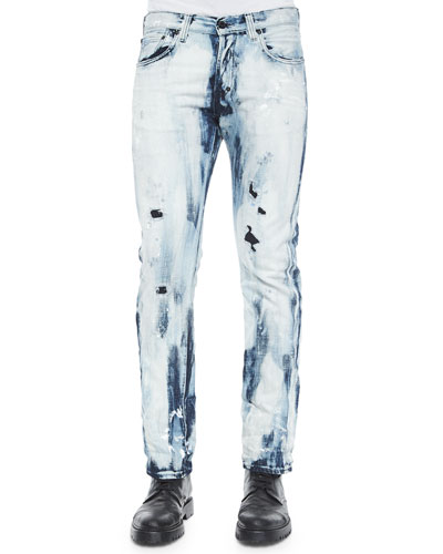Blue Maniacs Demon Denim Jeans, Indigo/White
