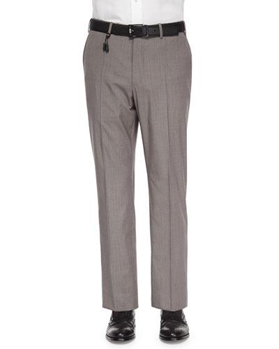 Check Cotton/Linen Trousers, Tan/Brown