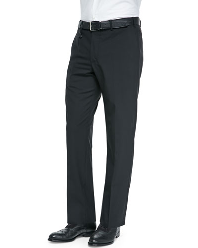 Benson Lightweight Wool Trousers, Black