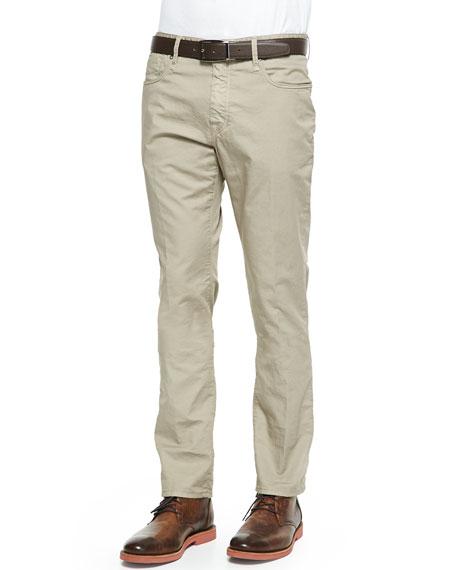 IncotexWashed 5-Pocket Cotton Stretch Pants, Khaki
